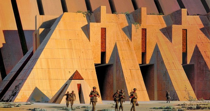 ANH: In the Star Wars universe, there are at least 4 different Massassi Temples including the Great Temple, the Temple of the Blueleaf Cluster, the Palace of the Woolamander, and the Temple of Exar Kun. This painting shows how Ralph McQuarrie envisioned one of the many Massassi temples on Yavin 4.
