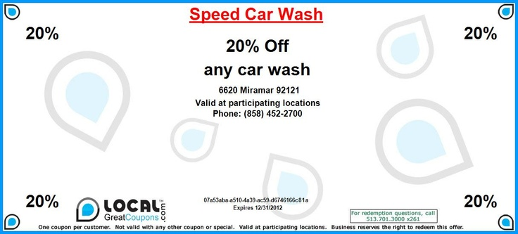 20% Off any car wash