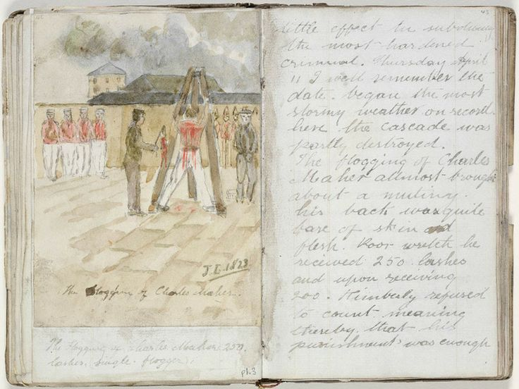'The Flogging of Charles Maher', in Robert Jones, 'Recollections of 13 years Residence in Norfolk Island and Van Diemans land', dated 1823. Mitchell Library, State Library of New South Wales: http://www.acmssearch.sl.nsw.gov.au/search/itemDetailPaged.cgi?itemID=441815
