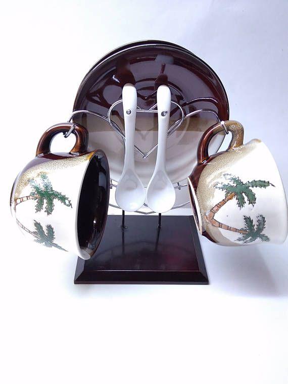 Набор для кофе на подставке винтаж-90 керамика глазурь