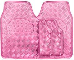 Metallic Girls Pink Heavy Duty Checker Plate Rubber Interior Car Floor Mats Set in Vehicle Parts & Accessories, Car Parts, Interior Parts & Furnishings | eBay