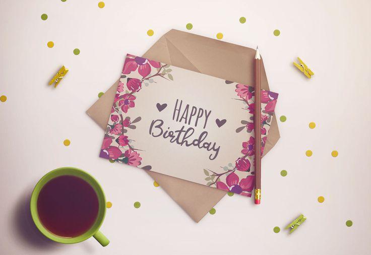 PDF BIGLIETTO STAMPABILE Biglietto auguri di buon compleanno con fiori - Happy birthday. Formato A5 (148x210mm) di PamPamLove su Etsy