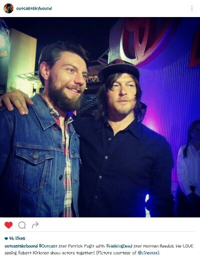Norman Reedus with Patrick Fugit from @outcastskybound on instgram.