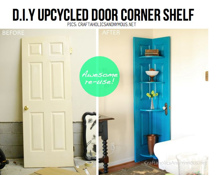 Upcycle door to shelf