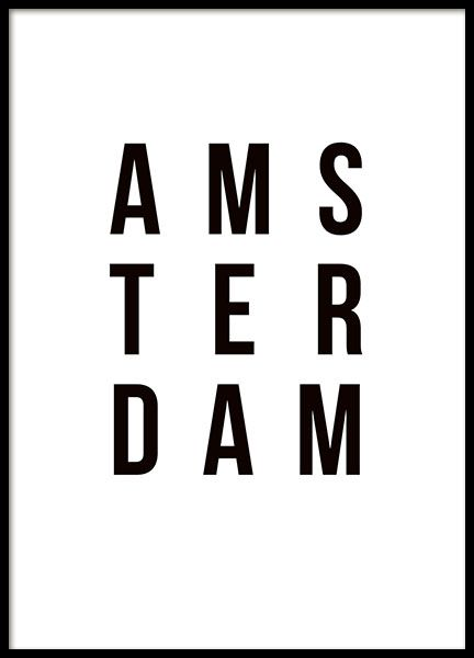 Poster met de tekst van Amsterdam. Vind meer hits met steden en kaarten met www.desenio.nl