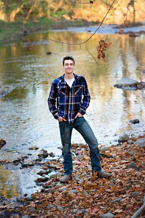 Senior Guy Pose Ideas - Senior Boy Picture - Senior Guy Portrait - Breezy Hill Portraits - Fall Portrait -Fall Session - Flannel - River - Water - Creek