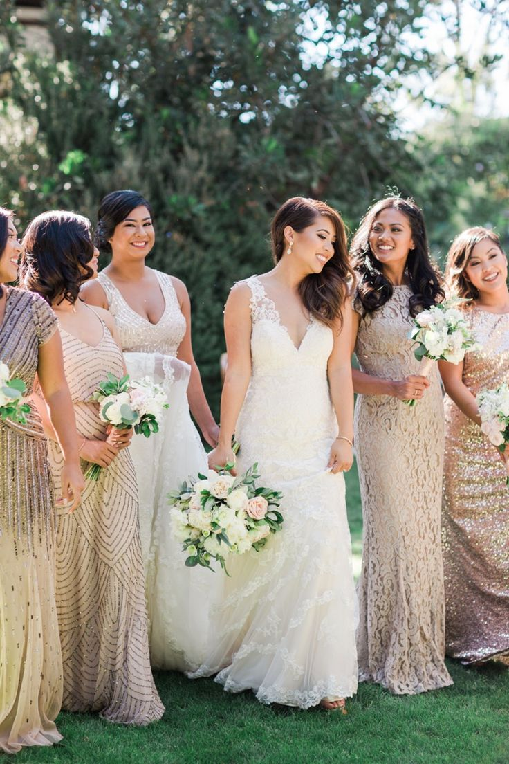 17 best bridal parties images on pinterest bridal parties bow valorie darling photography mixed bridesmaid dresses metallic bridal party white bouquet outdoor ombrellifo Gallery