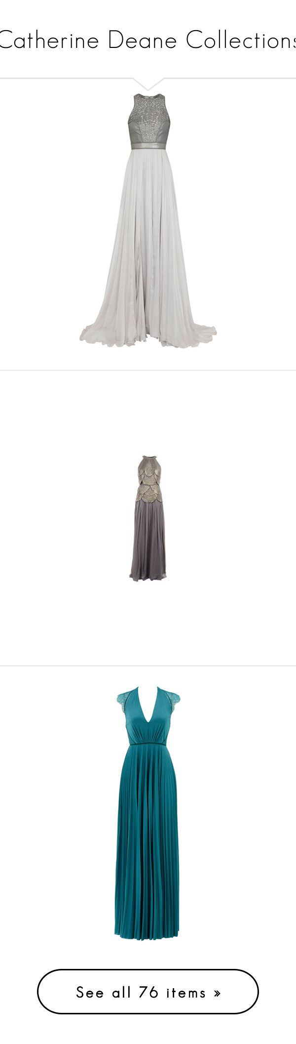 """Catherine Deane Collections"" by tiffanyelinor ❤ liked on Polyvore featuring dresses, gowns, vestidos, long dresses, silk dress, gray dress, gray gown, sheer dress, grey evening dresses and maxi dresses"