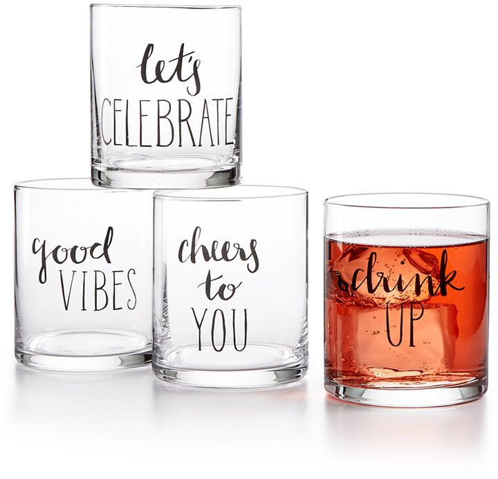 The Cellar Words 4-Pc. Old Fashioned Glass Set. Mix it up with the varied medley of messages and fun mix of fonts that flavor The Cellar Words set of old fashioned glasses! (afflink)