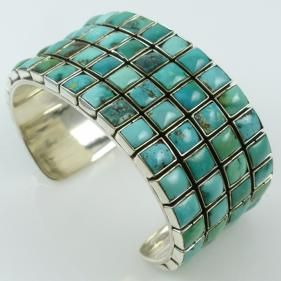 Turquoise Row Cuff by Federico - Garland's Indian Jewelry $895