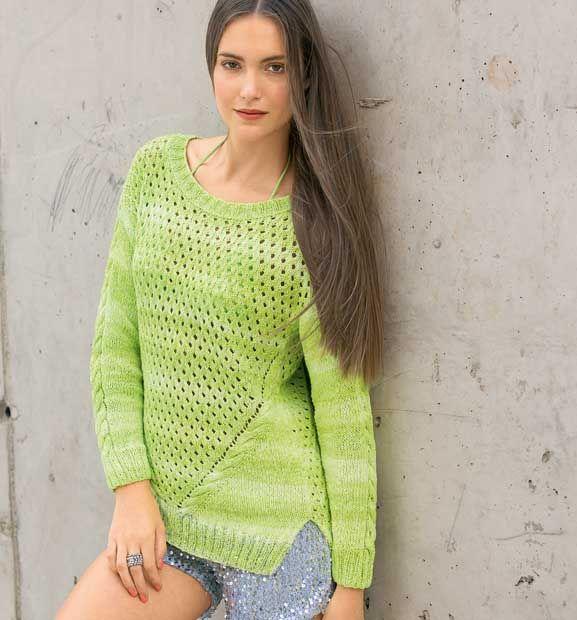 Пуловер с наклонными «косами» - схема вязания спицами. Вяжем Пуловеры на Verena.ru