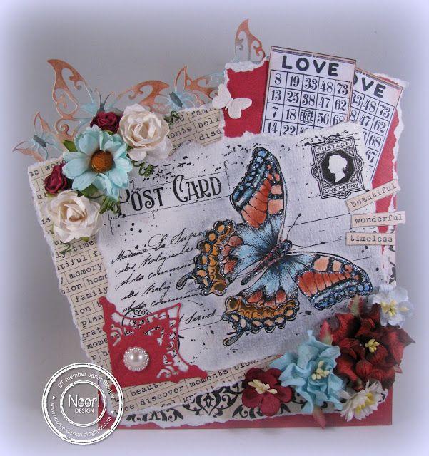 6410/0072 Noor! Design Stempel old letter butterfly door Janet Blaauw