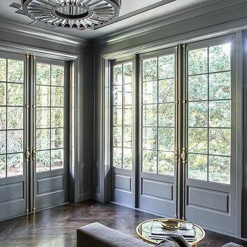 Серые французские двери с латунной французский Casement Hardware