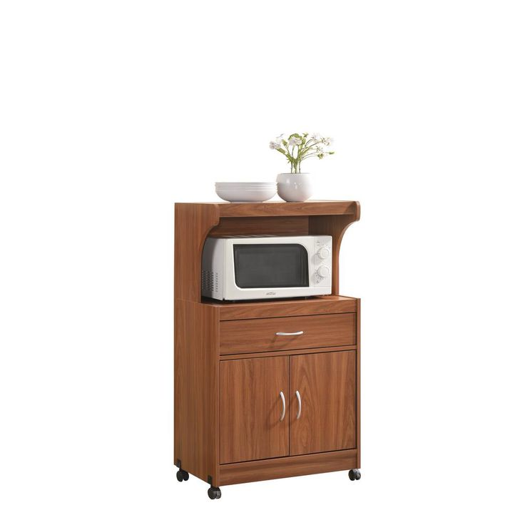 1-Drawer Cherry (Red) Microwave Cart