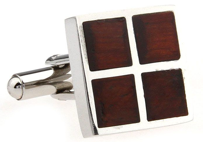 These premium cufflinks feature squares of polished rosewood inlaid in stainless steel. Timeless and elegant in their simplicity, this design is for the distinguished individual who doesn't need to be flashy to get noticed. These are cufflinks of distinction that will enhance any cufflink collection.