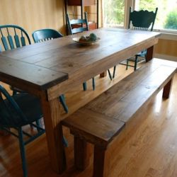 Easy step by step instructions on how to make your own farmhouse table and bench.