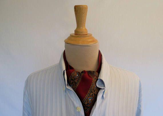 Burgundy Paisley Silk Ascot Tie Cravat