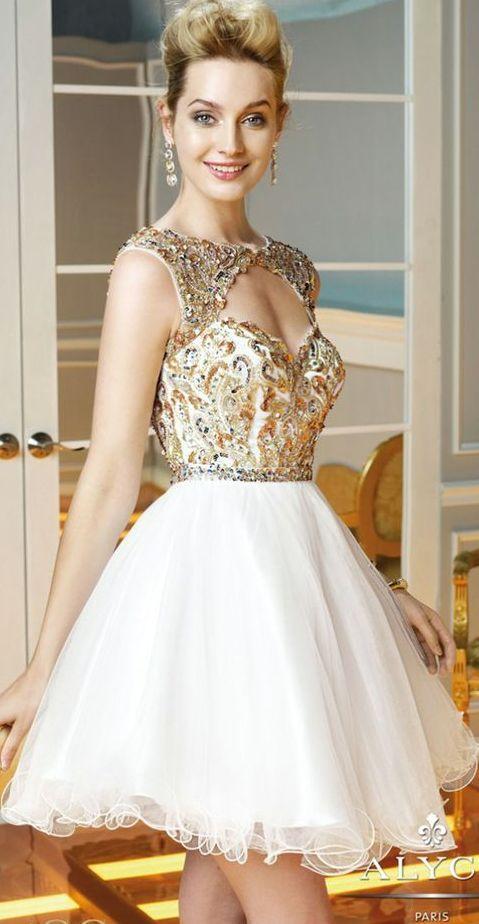 rochii de seara elegante scurte pintesa paiete albe aurii alyce paris spate gol