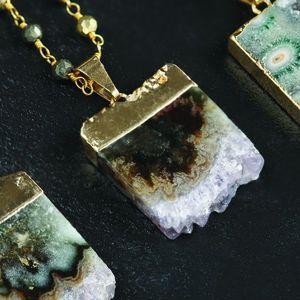 Amethyst Slice Semi Precious Pendant - women's jewellery