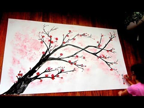How to paint magnolia blossoms - STEP by STEP - YouTube