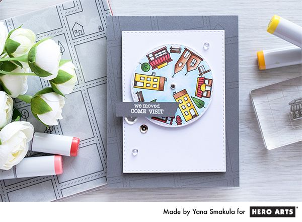 """Spinner """"We Moved"""" Card with Town Essentials Stamps by Yana Smakula for Hero Arts"""