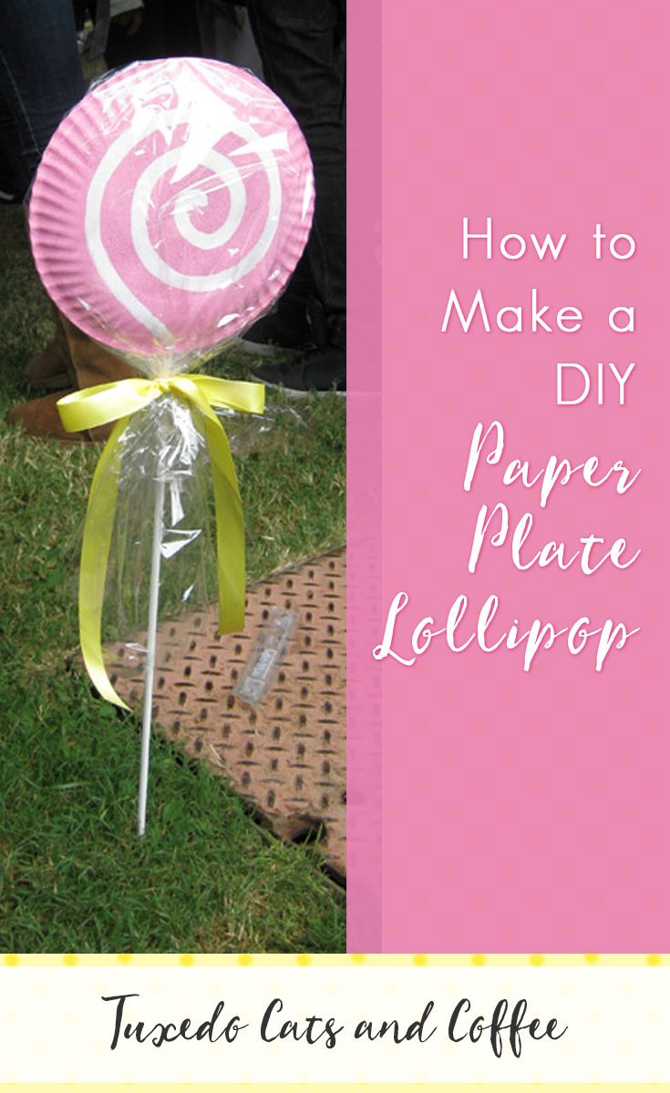 I originally made these paper plate lollipops for my Candyland party, but you could use these cute lollipop decorations for just about any occasion!  All you need is a few paper plates, paint, and ribbon to make this paper plate lollipop.