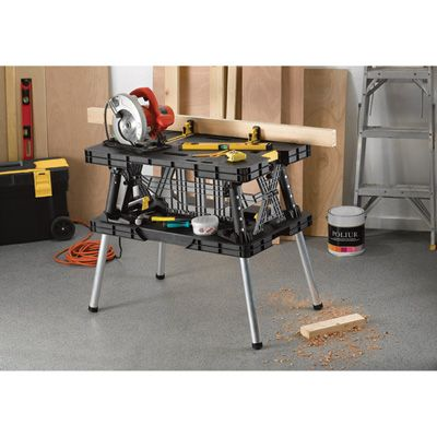 Portable and durable Keter folding table sets up in seconds to help you tackle the toughest tasks at the jobsite.