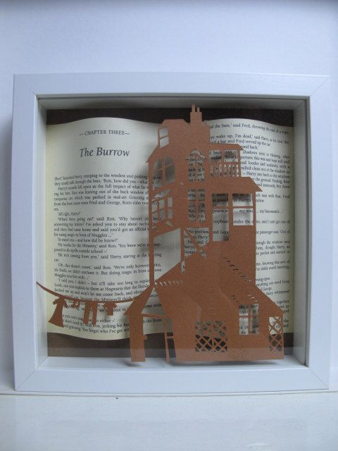 A really special gift for Harry Potter fans!  This is a shadow box frame with two pages in the back and a hand-cut paper cutting (Burrow design -
