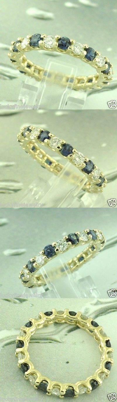 Gemstone 164343: 3.03 Ct 14K Yellow Gold Natural Diamond And Blue Sapphire Eternity Ring Size 7.5 -> BUY IT NOW ONLY: $1750 on eBay!
