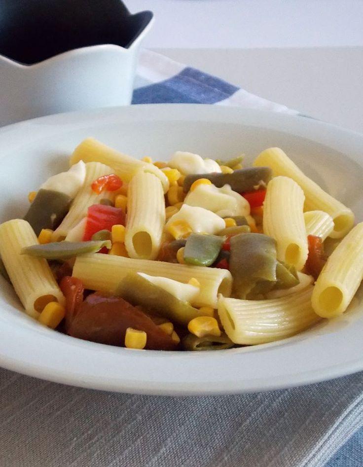 """#insalatadipasta  """"Pasta  Fredda con  Peperoni, Mais,  Fagiolini e Mozzarella"""". http://blog.alice.tv/lacucinadisissi/2014/07/23/pasta-fredda/"""