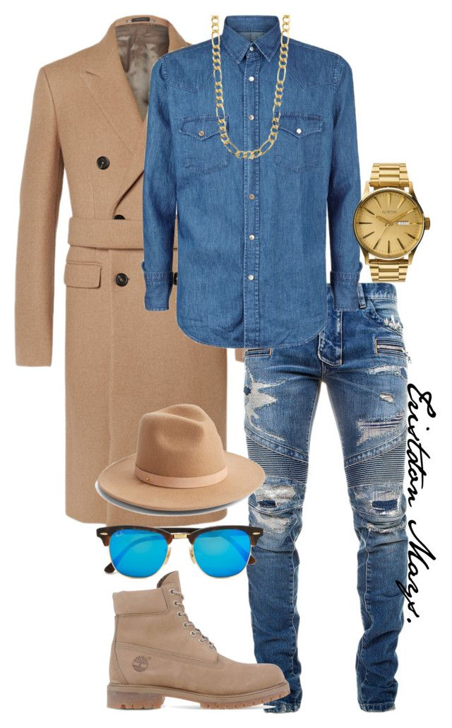 Denim & Nude. by monroestyles on Polyvore featuring polyvore Tom Ford Balmain Jil Sander Timberland Nixon Ray-Ban Sterling Essentials Lack of Color men's fashion menswear clothing MensFashion