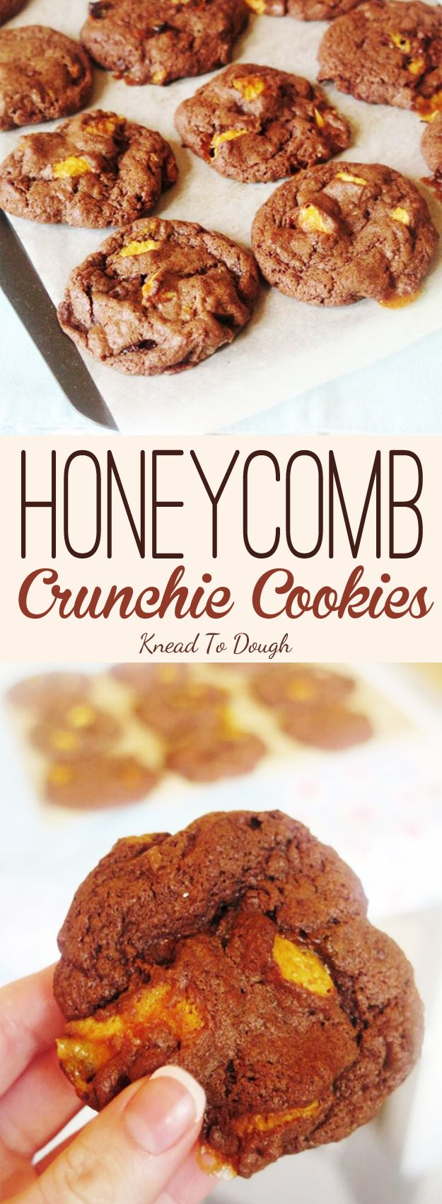 THE BEST Honeycomb Crunchie Cookies - delicious bakery style chocolate cookies packed with honeycomb crunchie bar pieces. You will love this easy and quick recipe - click through for the recipe now! Knead to Dough
