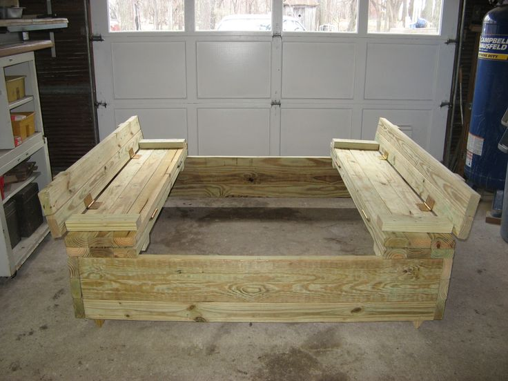 17 best images about sand box plans on pinterest sands for Sandbox with built in seats plans