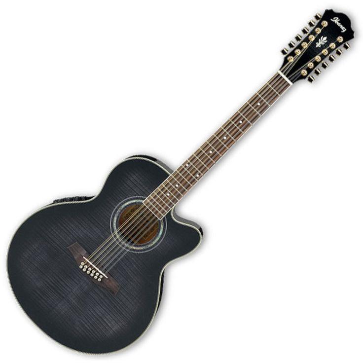 Ibanez AEL2012E 12 String Acoustic Guitar,Trans Black S/B at Gear4music.com