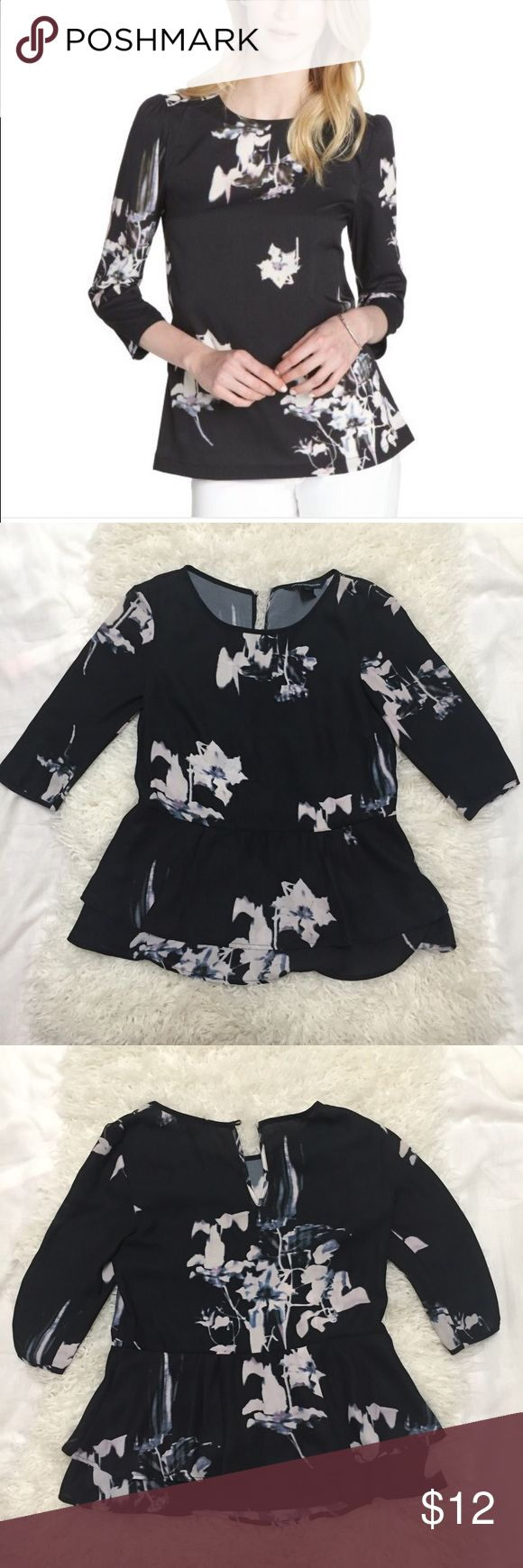 French Connection   floral print blouse Black and white watercolor   floral print   has a button missing in the back and some white marks from thread   imo marks look as part of the shirt it had them when I bought it other than that is so adorable   I so want to keep but is hard feeding a baby :/ French Connection Tops Blouses