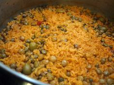 Arroz con gandules (Puerto Rican dish) but pretty much cooked in all latin america
