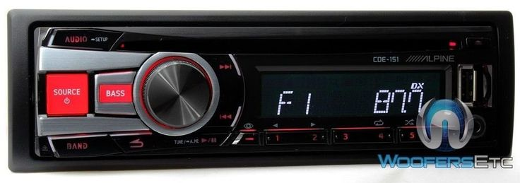 Alpine CDE-151 In-Dash Car Stereo with CD/AM/FM. 3-Band EQ. Front USB Input. Front Auxiliary Input. 2 Sets of 2V Preamp Outputs. 50W x 4 Chan. MAX, 18W x 4 Chan. RMS.