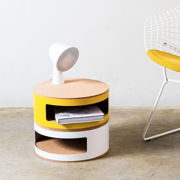 Cork Storage Table by Linadura. Kork is a multifunctional storage system designed by the duo Twodesigners. Recycled from waste wine corks, the outer is naturally anti-slip as well as sustainable.