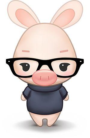 Cerdito con gafas