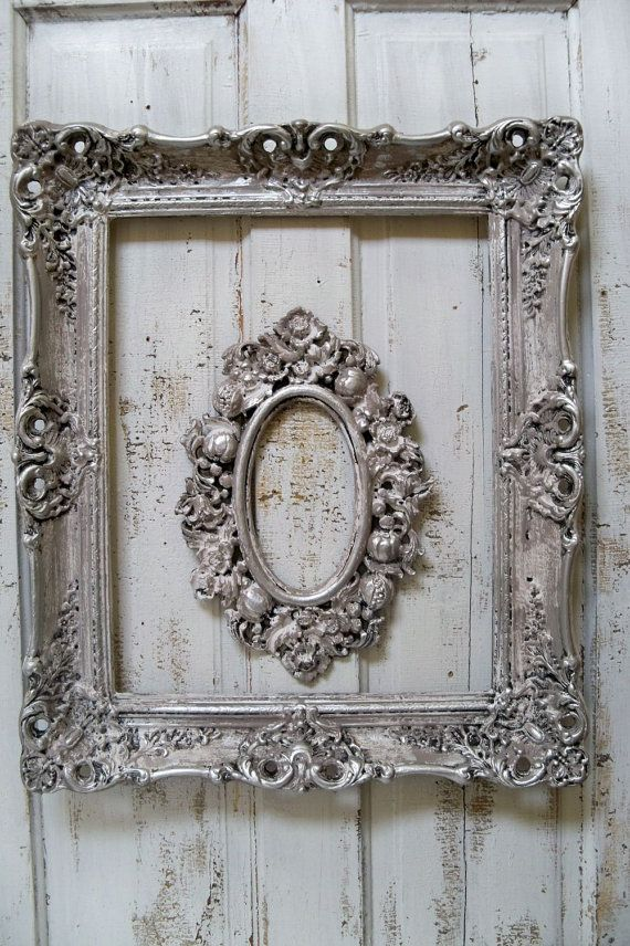 French farmhouse white putty gray frame set by AnitaSperoDesign, $180.00
