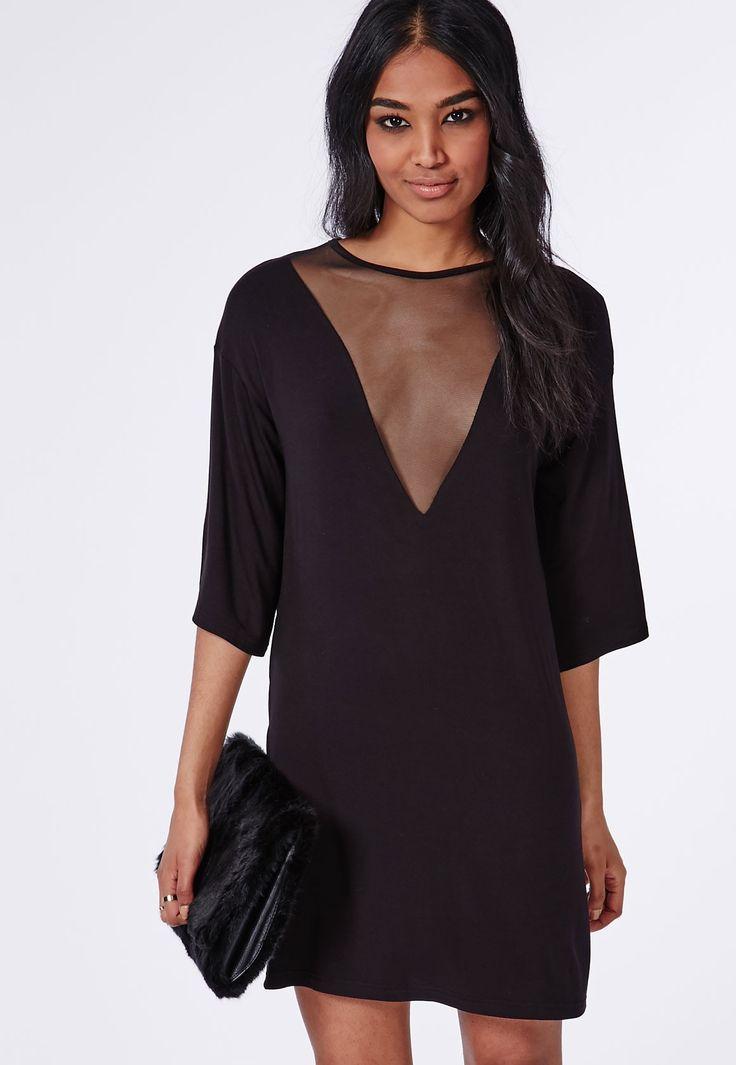Mesh V Insert Oversized T-Shirt Dress Black - Dresses - T-Shirt Dresses - Missguided