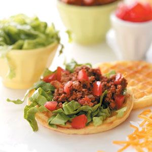 Taco Salad Waffles Recipe | Taste of Home Recipes
