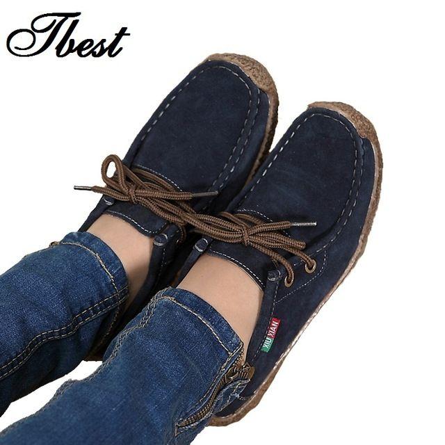 2016 mujeres del resorte zapatos de mujer de cuero genuino pisos de cuero de gamuza cosidos A Mano del zurriago flexibles zapatos del barco las mujeres holgazán plus tamaño