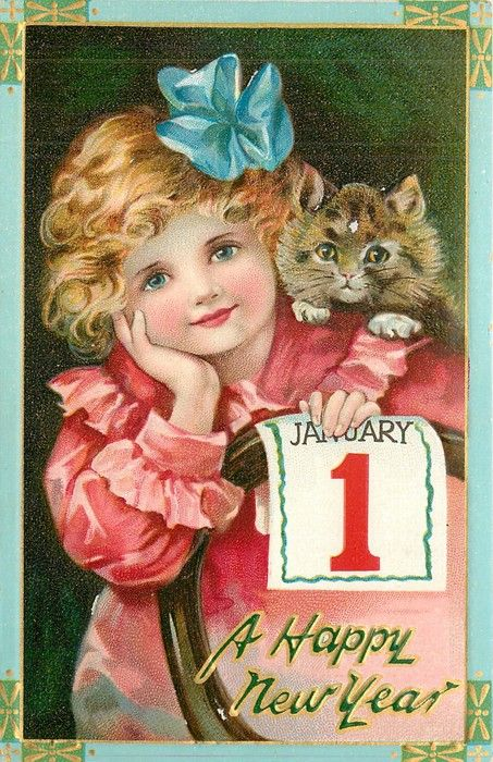 girl with kitten on shoulder holds JANUARY 1 placard against chair-back