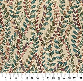 Vines Contemporary Woven Designer Upholstery Fabric - Teal, Green, Orange And Purple