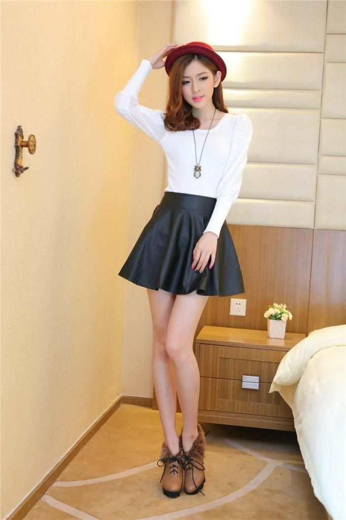 Umbrella Leather High Waist Skirts IDR 148k http://www.favechic.com/product/i/35490709913