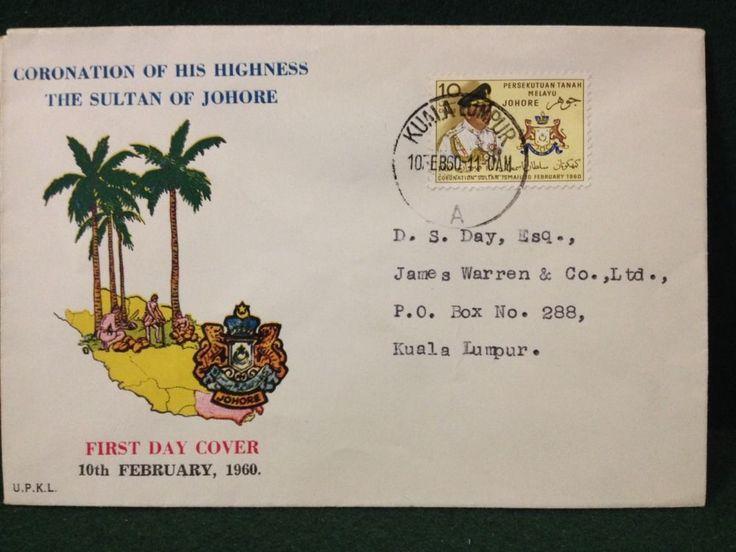 Malaya 1960 Coronation Sultan Johore Kuala Lumpur First Day Cover FDC - Malaysia