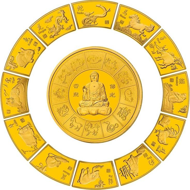EL CALENDARIO LUNAR CHINO EN ORO DE 24K Espectacular colección del Calendario Lunar Chino en oro de 24k. 13 preciosas medallas de las cuales 12 representan a cada uno de los animales del calendario lunar chino, y una última medallacircular de 65 mm, que representa a Buddha y el Ying&Yang