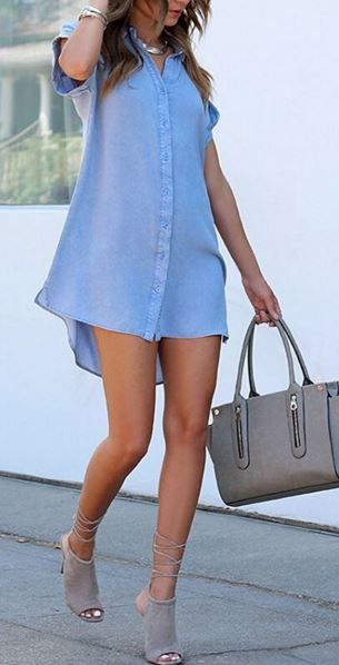 Washed Blue Shirt Dress at Lulu's - Trendslove