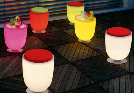 Can't afford these but I think that using lighted tables as outdoor furniture is a GREAT idea.